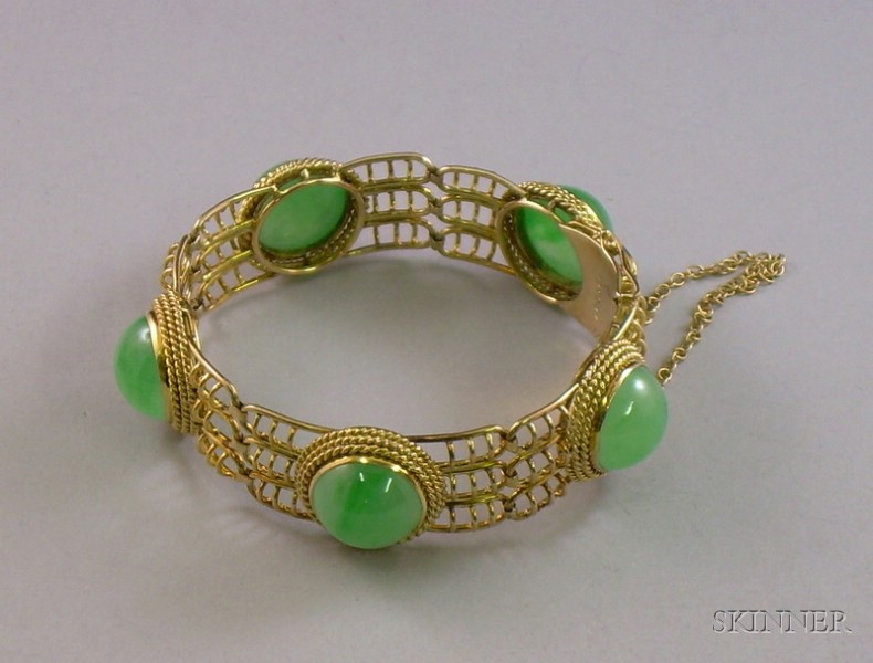 14kt Gold and Jade Bracelet.