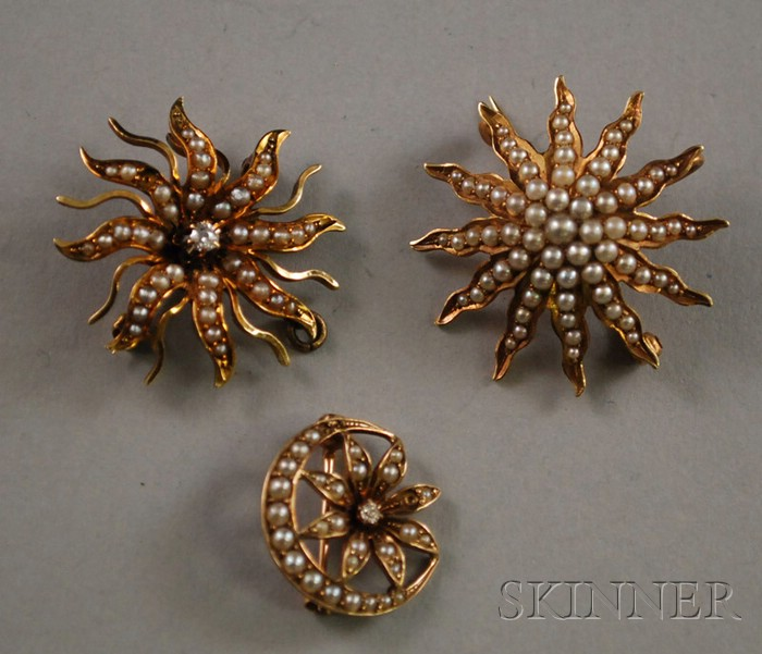 Three 14kt Gold and Seed Pearl Art Nouveau Pins