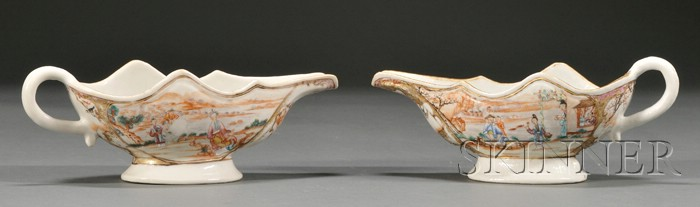 Pair of Chinese Export Porcelain Sauceboats