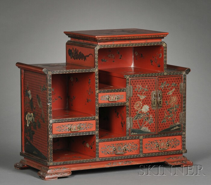 Diminutive Black Lacquer and Cinnabar Japanned Display Cabinet