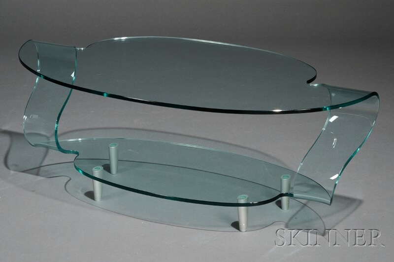 Fiam Italia Colorless Shaped and Bent Glass Coffee Table