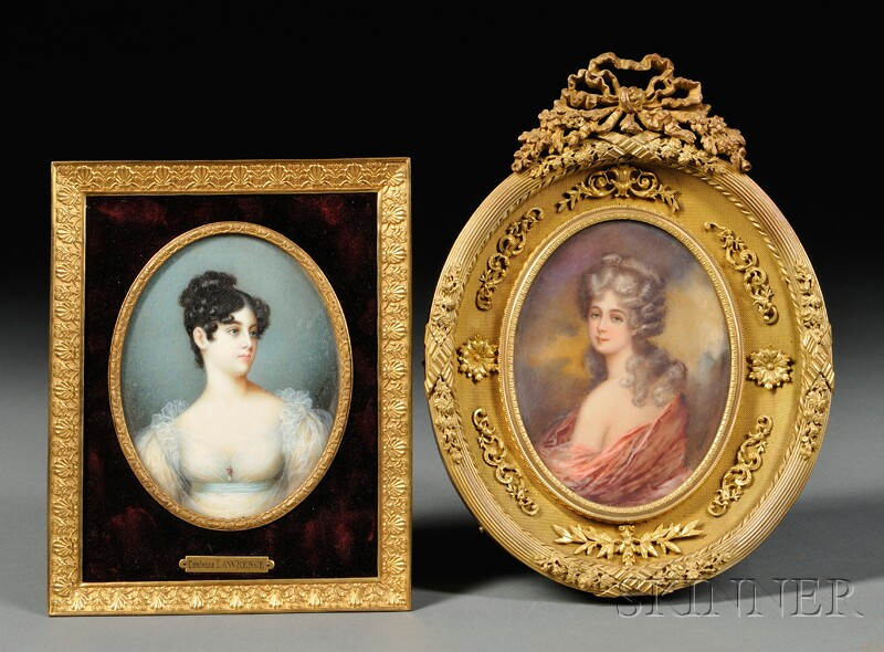 Two Framed Oval Portrait Miniatures on Ivory