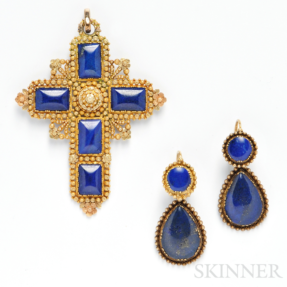 Antique Gold and Lapis Pendant and Earrings
