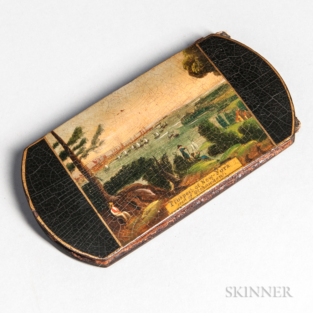 Illustrated Pasteboard and Leather Spectacle Case