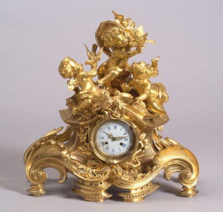 French Louis XV-style Gilt Bronze Mantel Clock