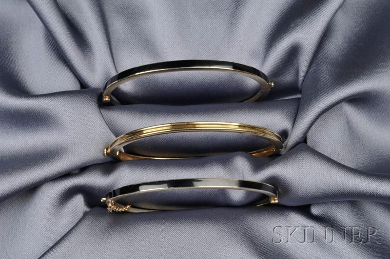 Three 14kt Gold Bangles