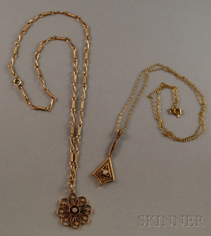 Two Antique Gold and Diamond Pendants