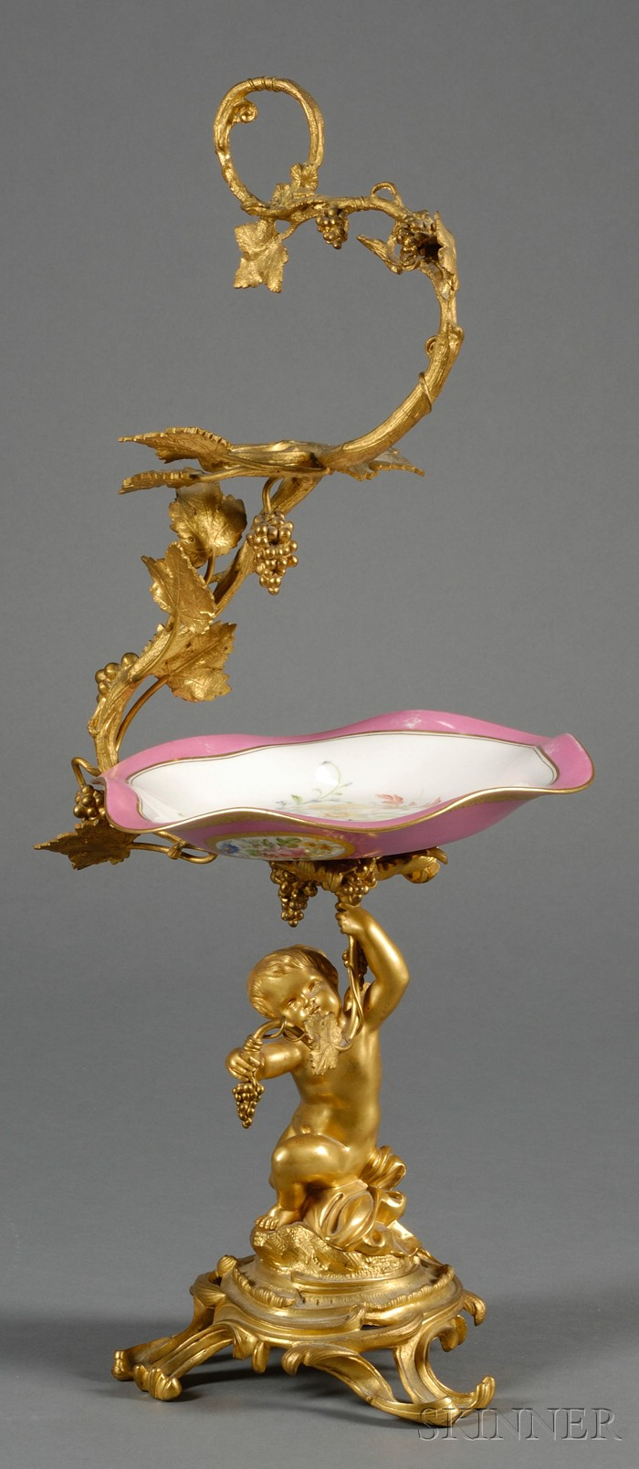 Gilt-bronze and Porcelain Compote