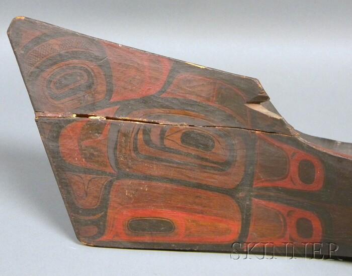 Large Northwest Coast Carved and Painted Wood Canoe Model