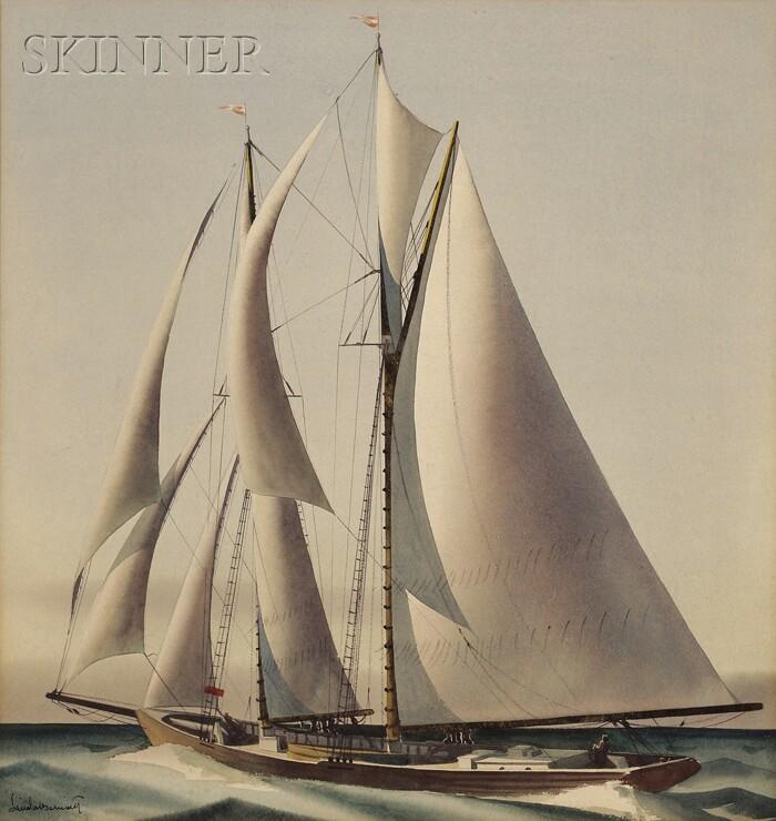 Sandor Bernath (American, 1892-1984)      Racing Yacht