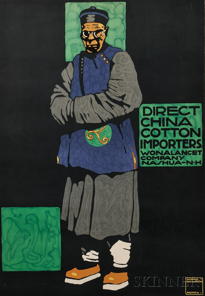 Ludwig Hohlwein (German, 1874-1949)      Direct China Cotton Importers Wonalancet Company Nashua-N·H