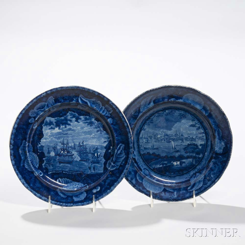 Two Staffordshire Historical Blue Transfer-decorated Plates