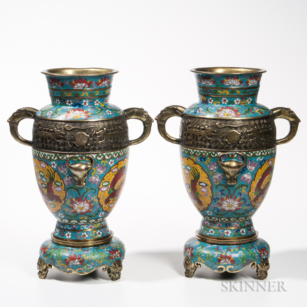 Pair of Cloisonne Vases and Stands