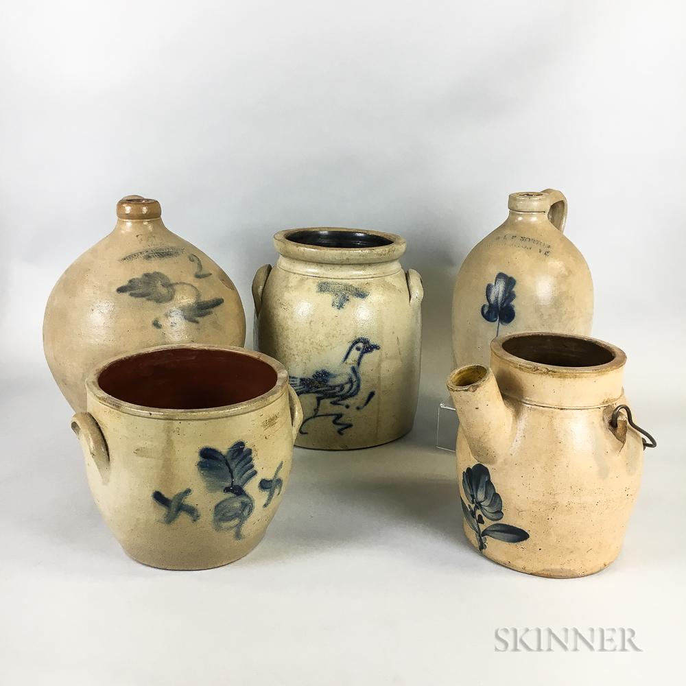 Five Cobalt-decorated Stoneware Vessels