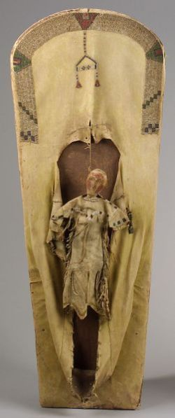 Large Western Wood and Beaded Hide Cradle with Suspended Doll