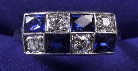 Art Deco Platinum, Diamond and Synthetic Sapphire Ring