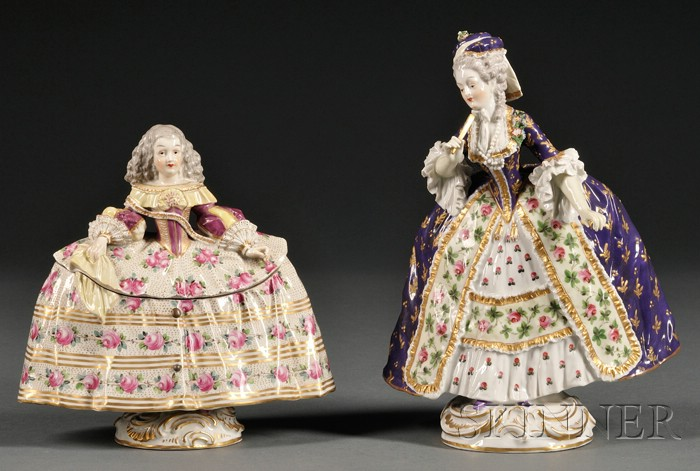 Two Continental Sevres-style Porcelain Articles