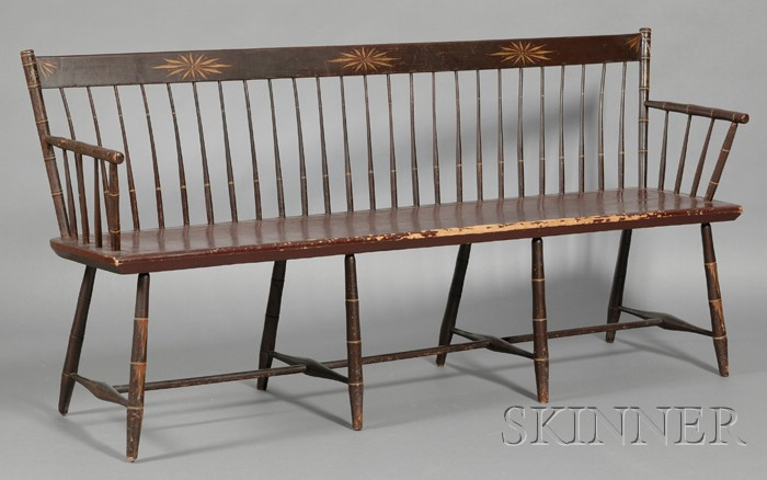Paint-decorated Bamboo-turned Windsor Settee