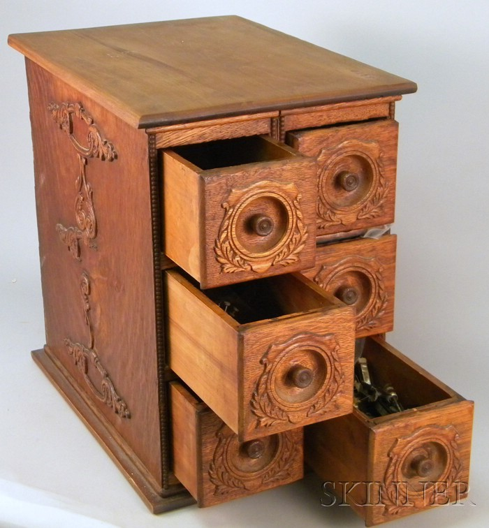 Wooden Cabinet, Six Drawers of Violin Fittings.