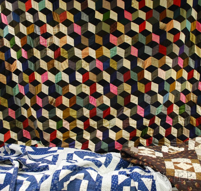 Two Pieced Cotton Geometric Pattern Quilts and a Pieced Wool and Cotton Blocks Pattern Quilt.