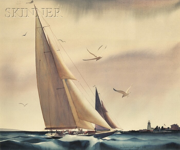 Sandor Bernath (American, 1892-1984)      America's Cup Yacht Race between Rainbow and Endeavour