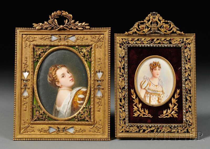 Two Framed Oval Portrait Miniatures