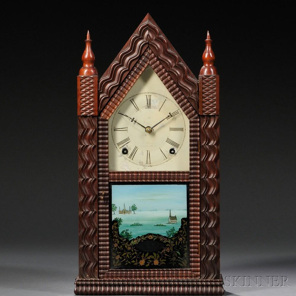 J.C. Brown Mahogany Ripple Front Steeple Clock