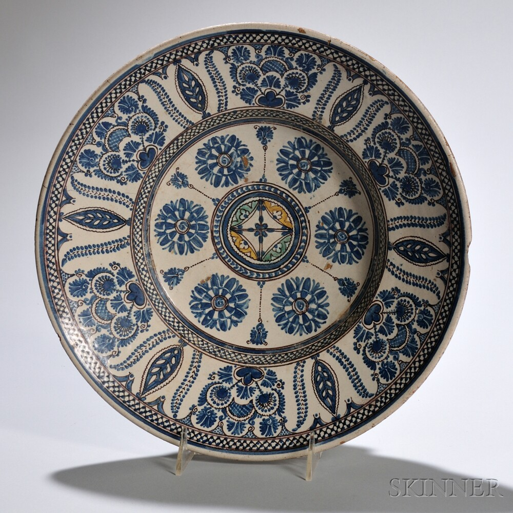 Large Beige and Blue Plate