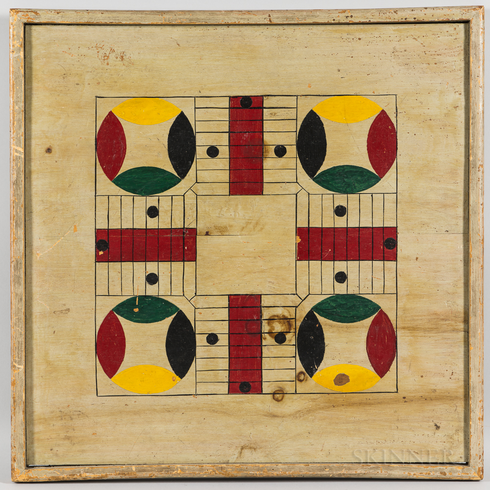 Large Gray-painted and Polychrome Decorated Parcheesi Game Board