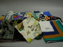 Eight Gucci Silk Scarves.