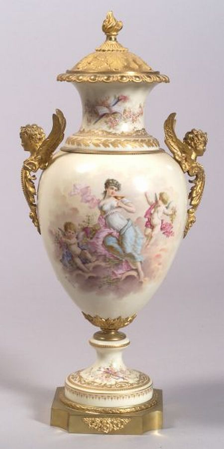 Sevres-style Porcelain Gilt Metal Mounted Vase and Cover