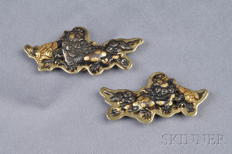Pair of 18kt Gold and Mixed Metal Pendant/Brooches, Gump's