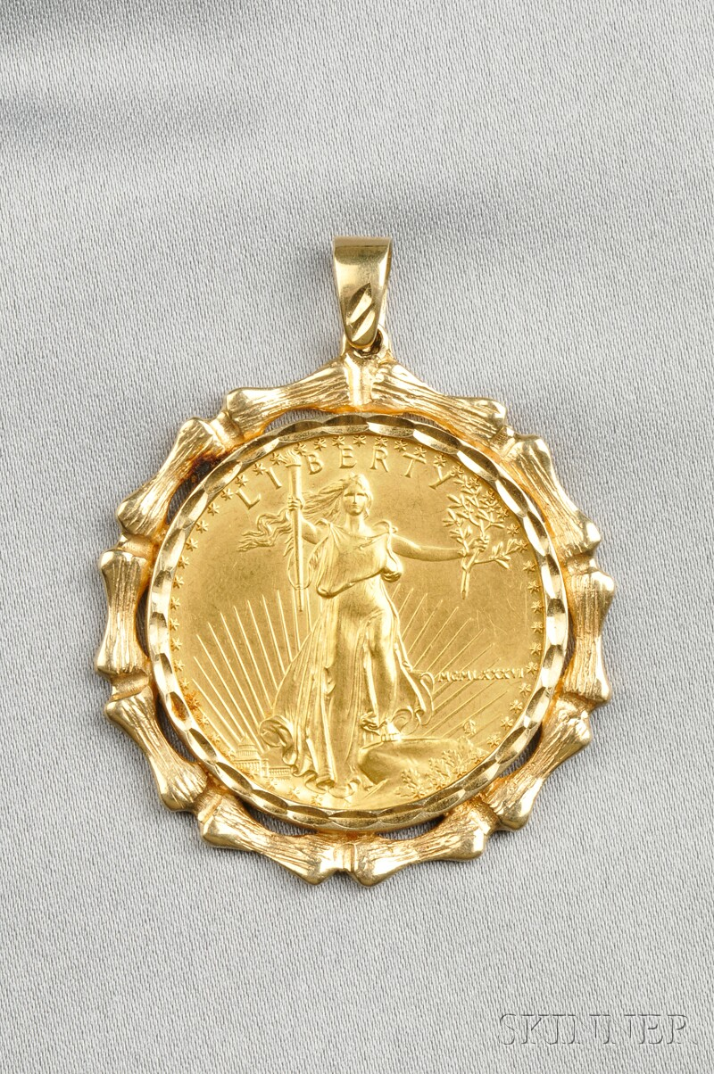 1986 American Eagle Fifty Dollar Gold Coin-mounted Pendant