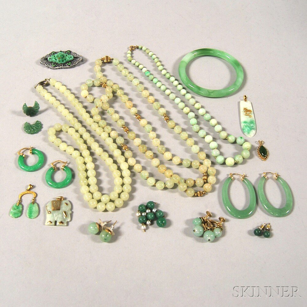Group of Green Jade and Hardstone Jewelry
