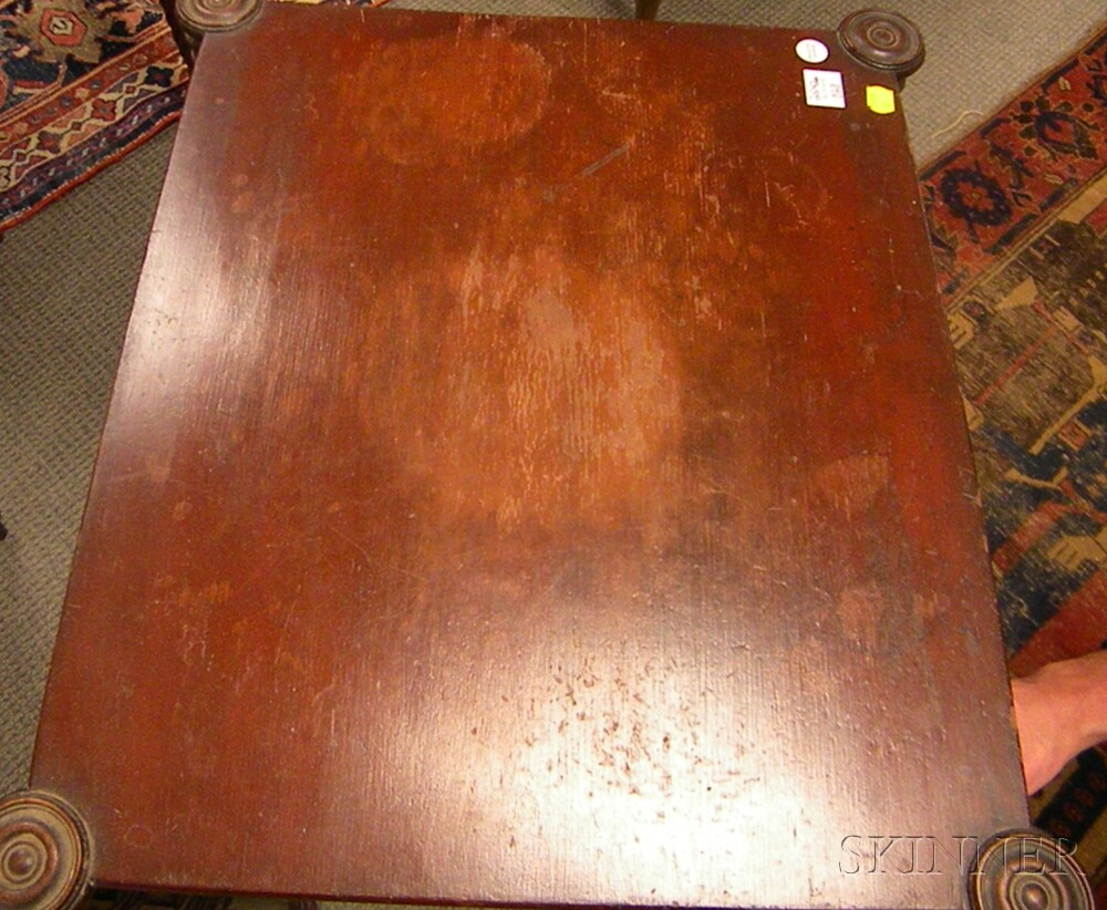 Late Federal Carved Cherry and Bird's-eye Maple Veneer Three-drawer Stand.     Estimate $400-600