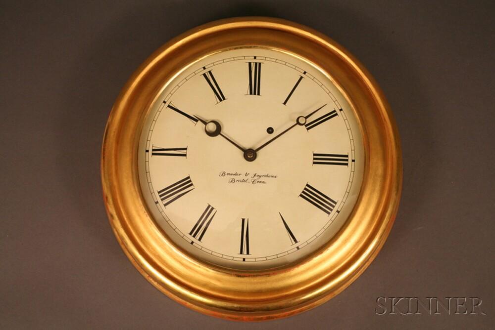Large Gilt Brewster and Ingraham Gallery Clock