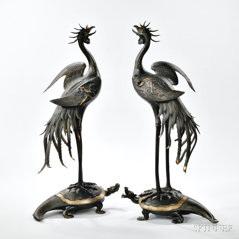 Pair of Parcel-gilt Bronze Phoenixes