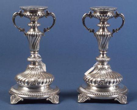 Pair of Russian Silver Mantel Garnitures