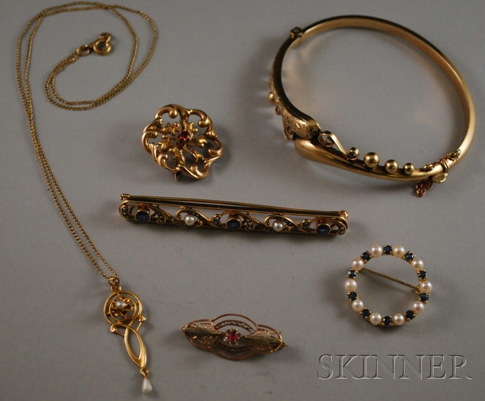 Small Group of Gold Gem-set Art Nouveau Jewelry