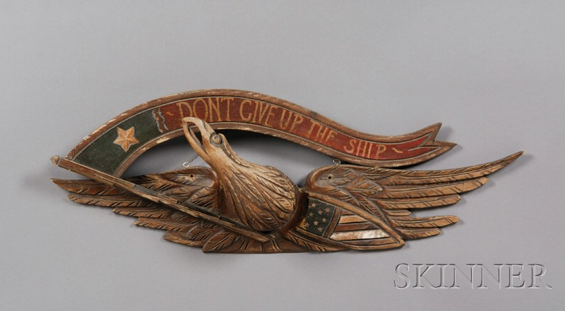 Carved and Painted Pine Bellamy-style Eagle Plaque