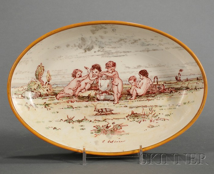 Wedgwood Lessore Decorated Queen's Ware Deep Dish