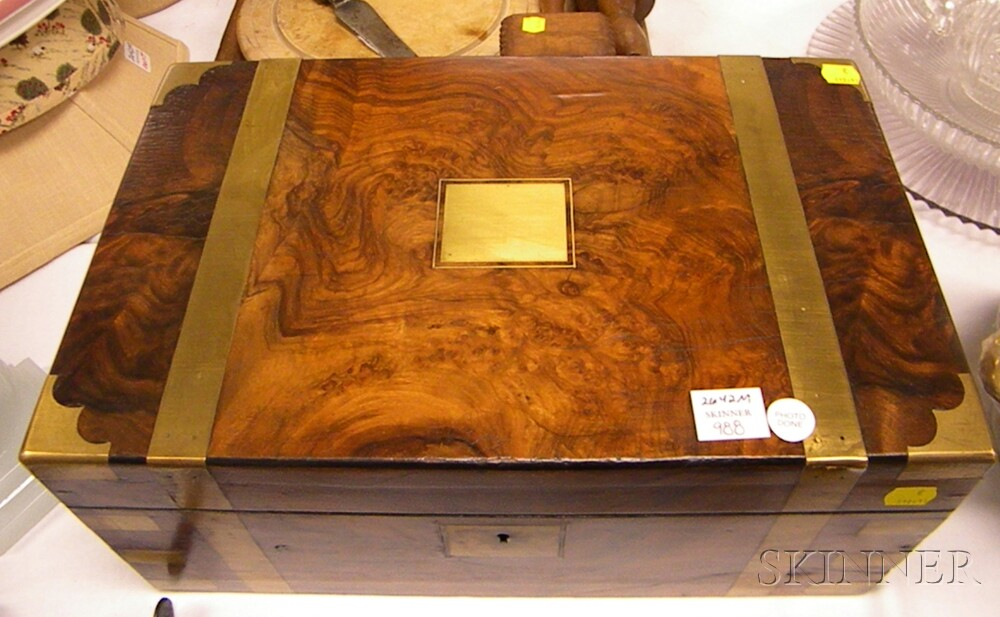Brass-bound Burlwood and Mahogany Lap Desk