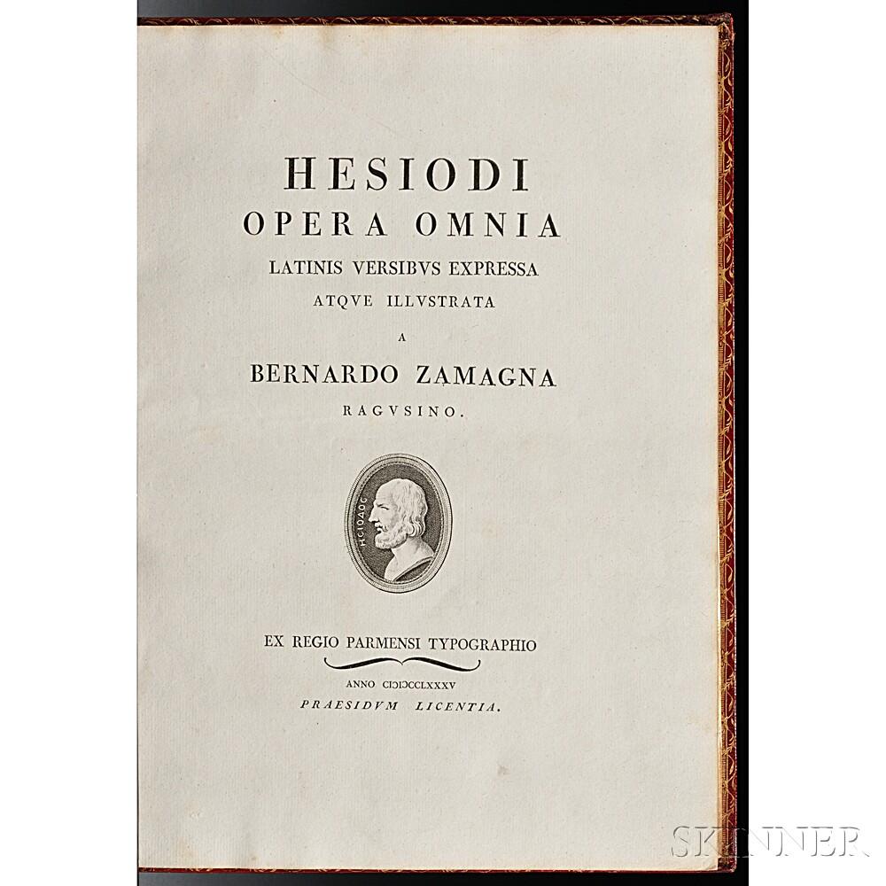 Hesiod (fl. circa 750-650 BC) Opera Omnia Latinis Versibus Expressa atque Illustrata a Bernardo Zamagna Ragusino.