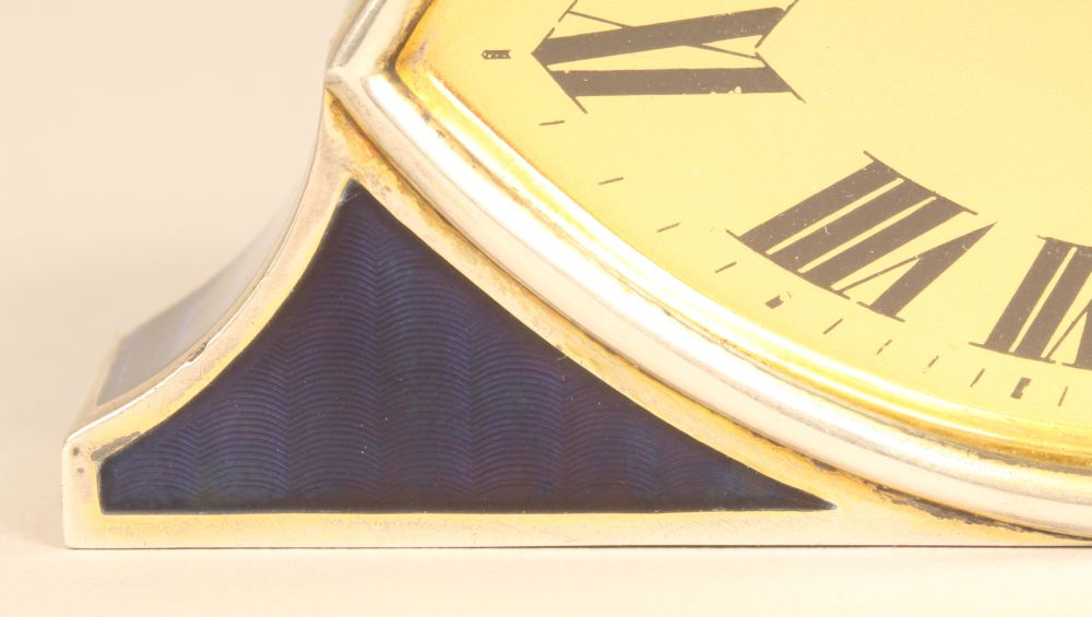 Silver and Enamel Desk Clock