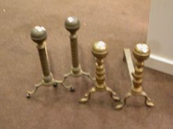 Two Pairs of Brass Belted Ball-top Andirons.