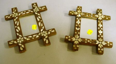 Two Small Syrian Mother-of-Pearl Inlaid Fruitwood Mirrors.