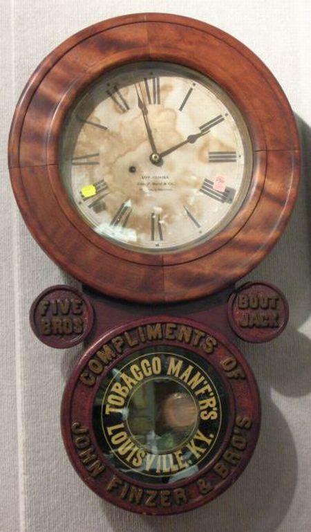 John Finzer & Bro's Tobacco Man'f'r's, Louisville, Kentucky/Five Bros/Boot Jack   Advertising Wall Clock
