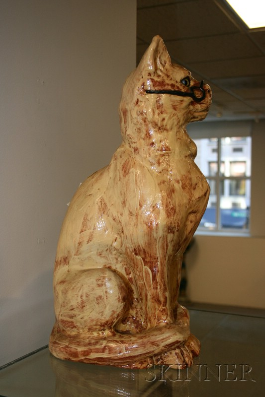 Glazed Terracotta Figure of a Bespectacled Cat