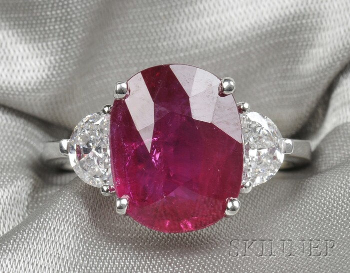 18kt White Gold, Ruby, and Diamond Ring