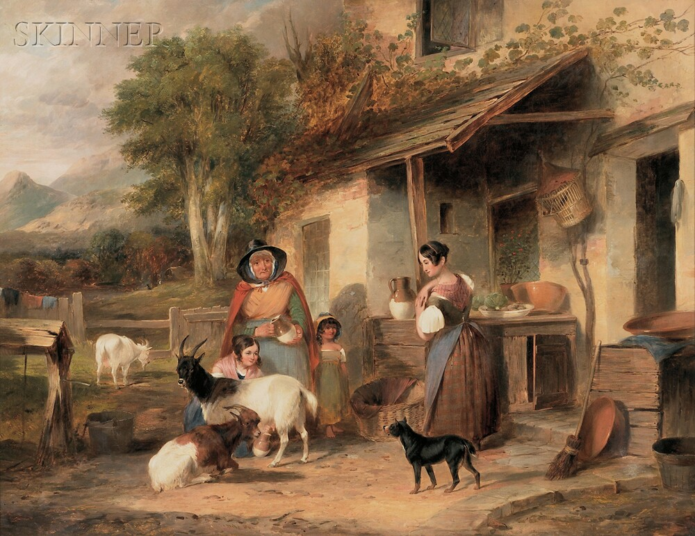 Attributed to William Shayer the Elder (British, 1787-1879)      Milking the Goats